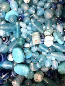 Mix glass beads- Waxy/Candy Mix  Blue