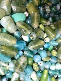 Mix glass beads- Waxy/Candy Mix  Green