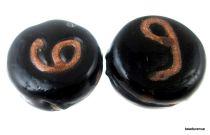 Glass beads Black & Golden Disc