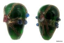 Wedding Cake  Drop Beads 20 x 14mm- Dark Green