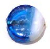Waxy Two Tone Flat Disc 15x6mm-Blue & White