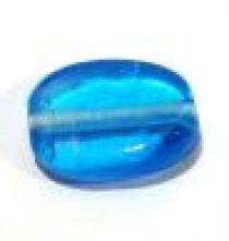 Glass Twisted Flat Ovals 19x14x7mm-Blue (trans)