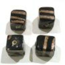 Glass beads Black & Golden Stripe Cube 12mm