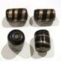 Glass beads Black & Golden Stripe Tube 19mm