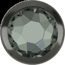 Swarovski Crystal Flatback Hotfix 2078 H Rimmed Flat Back SS-16  ( 3.90mm)  Black Diamond GM (F) -  1440 Pcs