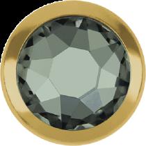 Swarovski Crystal Flatback Hotfix 2078 H Rimmed Flat Back SS-16  ( 3.90mm)  Black Diamond GR (F) -  1440 Pcs