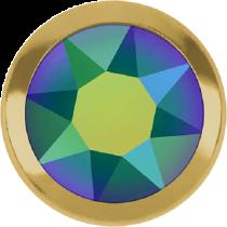Swarovski Crystal Flatback Hotfix 2078 H Rimmed Flat Back SS-16  ( 3.90mm)  CrystalScarabaeus Green GR (F) -  1440 Pcs