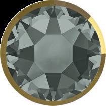 Swarovski Crystal Flatback Hotfix 2078 I Rimmed Flat Back SS-34  ( 7.17mm) Black Diamond Dorado (F) -  144 Pcs