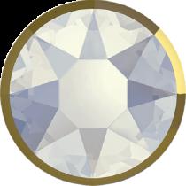 Swarovski Crystal Flatback Hotfix 2078 I Rimmed Flat Back SS-10  ( 3.90mm) White Opal Dorado (F) -  1440 Pcs