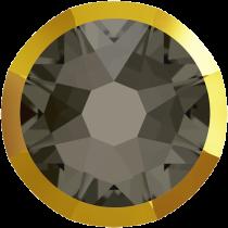 Swarovski Crystal Flatback No Hotfix 2088 I Rimmed Flat Back SS-16  Black Diamond Dorado (F) -  1440 Pcs