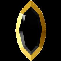 Swarovski Crystal Flatback Hotfix 2200 I Rimmed Flat Back (8.00x4.00mm)  Jet Dorado (F) -  360 Pcs