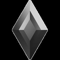 Swarovski Crystal Flatback Hotfix 2773 Diamond Shape Flat Back (6.60x3.90 mm) - Jet Hematite (F) - 216 Pcs