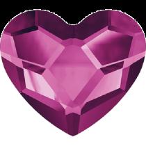 Swarovski Crystal Flat Back No Hotfix 2808 Heart Flat Back (10 mm)- Fuchsia (F) - 144 Pcs