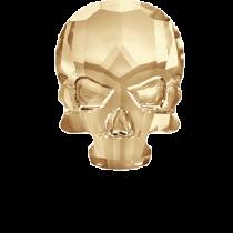 Swarovski Crystal Flat Back Hotfix 2856 Skull Flat Back (10.00x7.50mm) - Crystal Golden Shadow  (F) - 72 Pcs