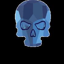 Swarovski Crystal Flat Back Hotfix 2856 Skull Flat Back (10.00x7.50mm) - Crystal Metallic Blue (F) - 72 Pcs