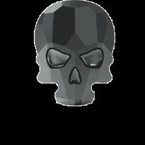 Swarovski Crystal Flat Back Hotfix 2856 Skull Flat Back (10.00x7.50mm) - Jet Hematite (F) - 72 Pcs