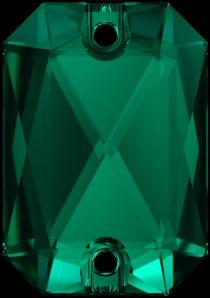 Swarovski Crystal 3252 Emerald Cut Sew On stone 20 x 14 mm- Emerald (F)- 15 Pcs.