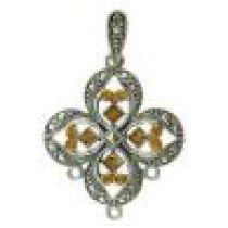 Victorian Pendant with Swarovski Crystals -Topaz