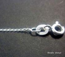 Sterling Silver Long Curb Diamond Cut Chain W/Clasp -45 cms.