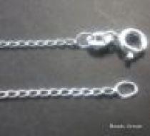 Sterling Silver Long Curb Diamond Cut Chain(35) W/Clasp -50 cms.