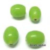 Glass Oval Beads- 11X9MM-Lt. Green(Waxy Opaque)