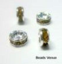 Rondelles -4mm Silver base  Topaz