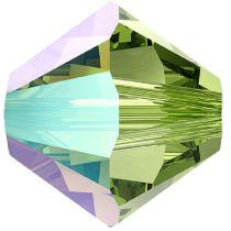 Swarovski Crystal 5328 Bicone -4mm - Peridot Shimmer