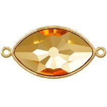 Swarovski 4775/C Eye Fancy Stone Finding W/ 2 loops on sides  18 x 10.5 mm- Gold Plated