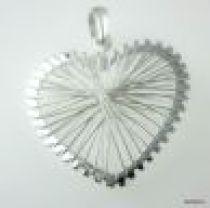 Sterling Silver Pendant W/Bail Heart-25mm