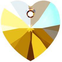 Swarovski 6228 Crystal Heart Pendant -14mm- Lt. Topaz Shimmer