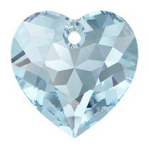 Swarovski Crystal 6432 Heart Cut Pendant - 14.5 mm- Aquamarine