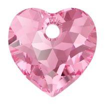 Swarovski Crystal 6432 Heart Cut Pendant - 14.5 mm- Rose