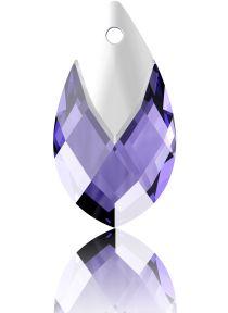 Swarovski Crystal Pear Shape Pendant W/Metallic Cap 6565- 18 mm - Tanzanite Lt. Chrome
