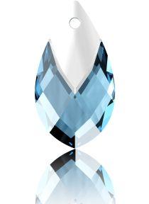 Swarovski Crystal Pear Shape Pendant W/Metallic Cap 6565- 18 mm -Aquamarine Lt. Chrome