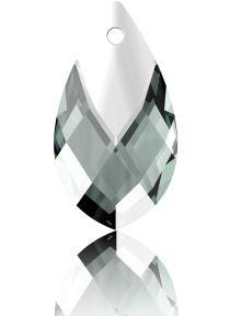 Swarovski Crystal Pear Shape Pendant W/Metallic Cap 6565- 18 mm -Black Diamond Lt. Chrome