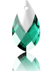 Swarovski Crystal Pear Shape Pendant W/Metallic Cap 6565- 18 mm -Emerald Lt. Chrome