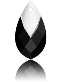 Swarovski Crystal Pear Shape Pendant W/Metallic Cap 6565- 18 mm - Jet Lt. Chrome