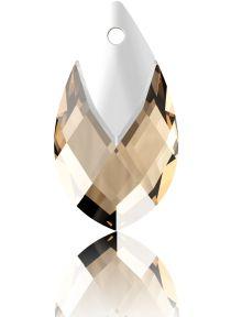 Swarovski Crystal Pear Shape Pendant W/Metallic Cap 6565- 18 mm - Lt. Colorado Topaz Lt. Chrome