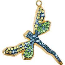 Swarovski Crystal Pave Pendant Dragonfly 67523- 30mm-Gold/Montana,Peridot,Jonquil