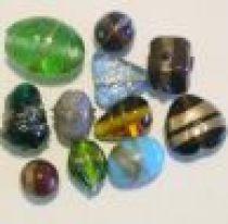 Mix Glass Beads- Golden Line