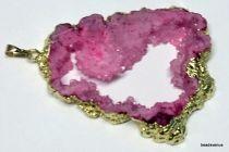 Druzy pendant pink 61mm X 48mm