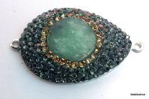 Rhinestone (black) oval link pendant 42mm X 26mm jade