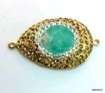 Rhinestone (golden) oval link pendant 42mm X 26mm jade