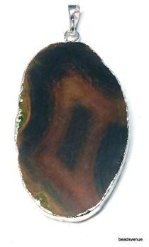 Agate slice pendant 53mm X 32mm Silver