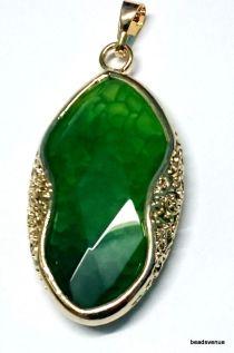 Agate fancy frame pendant 66mm X 34mm green