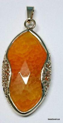 Agate fancy frame pendant 66mm X 34mm orange