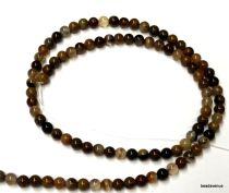 Rainbow Petrified Wood Beads Round 4mm - 40 Cms. Strand