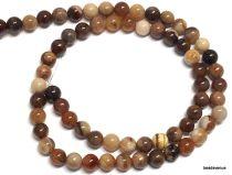 Petrified Wood Beads Round - 6mm - 40 cms Strand
