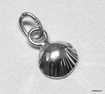 Sterling Silver Charm Sea Shell (Diamond Cut) W/Jump ring-9.5 x 6.7 mm