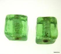 Silver Foil Cube Beads-10mm - Light Green